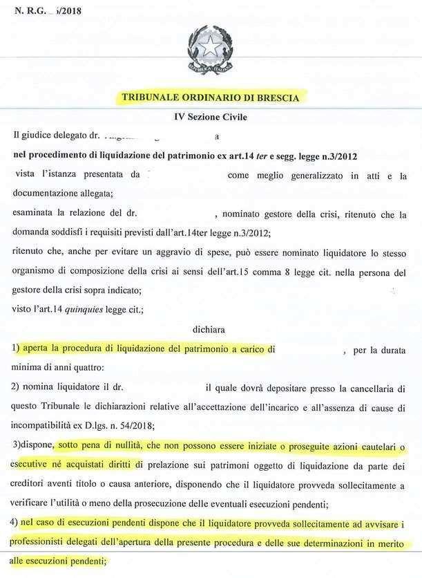 provvedimento legge sovraindebitamento 3 2012